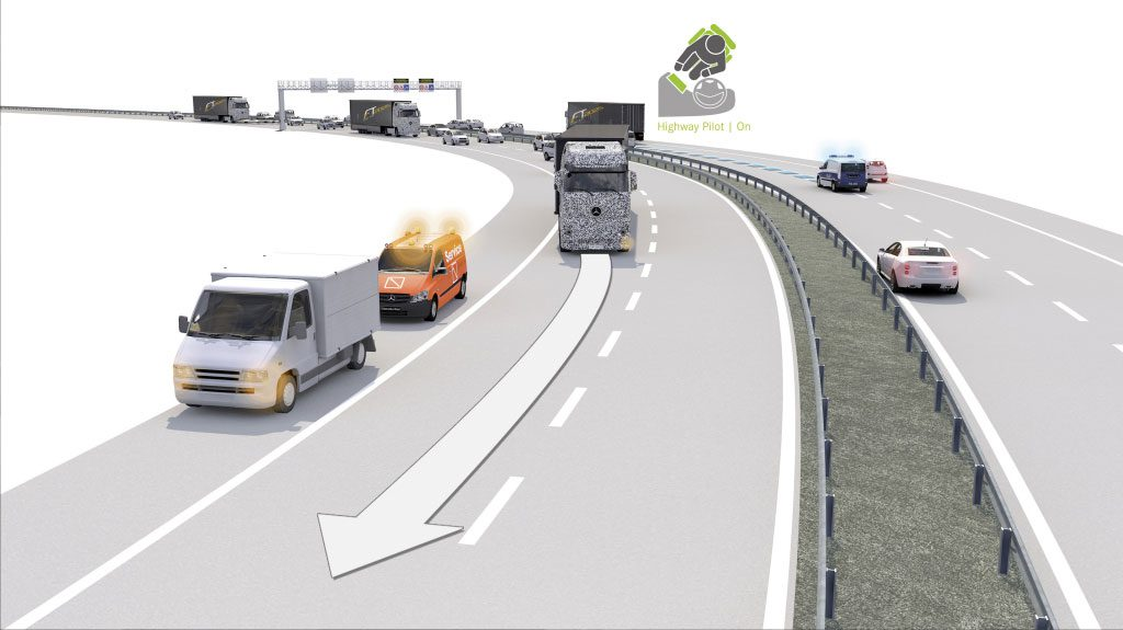Lane change in the Self-driving Truck or the Future Truck 2025 (Image courtesy- Daimler AG)