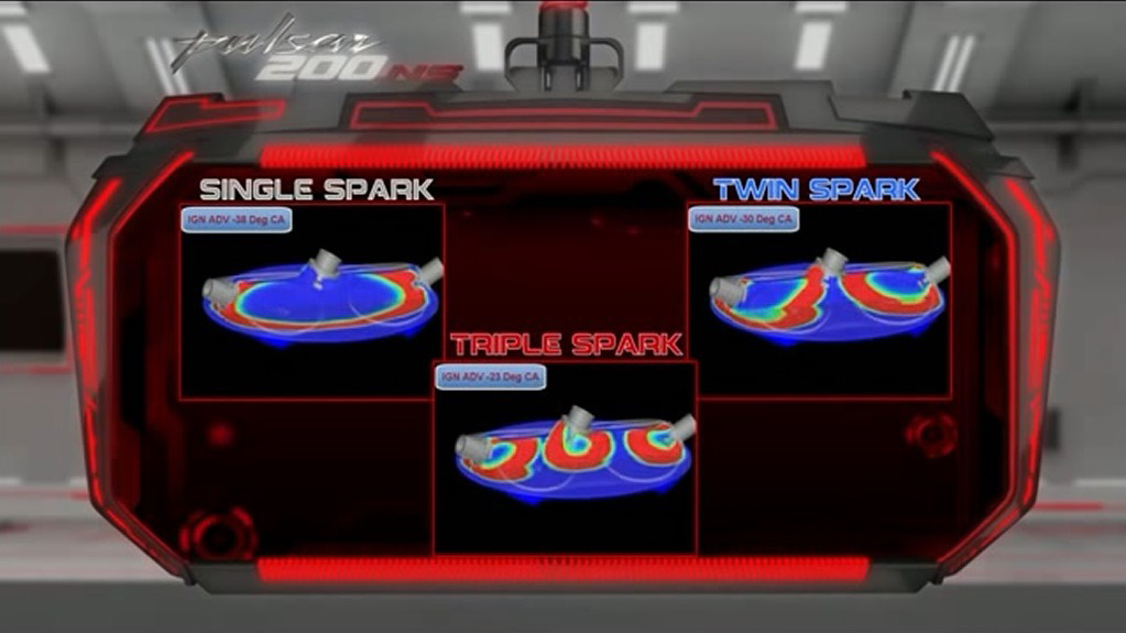 Comparison of Triple Spark Technology (Photo Courtesy: Bajaj Auto)