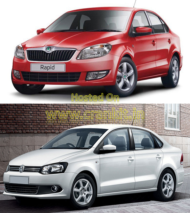 Skoda Rapid (top) & Volkswagen Vento (bottom) use Badge Engineering (Photo Courtesy: Skoda, Volkswagen)
