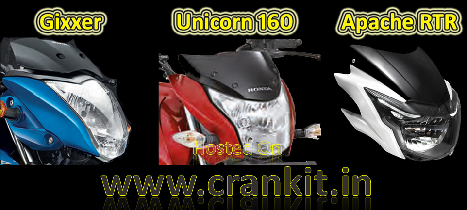 Gixer-Unicorn-Apache Headlight (Courtesy: Suzuki, Honda, TVS)