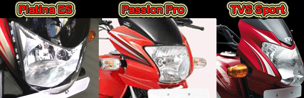 Headlights compared - Passion Pro has multifocal headlamp vs TVS Sport has sporty headlamp