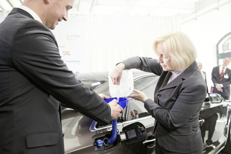 German Federal Minister of Education and Research Johanna Wanka fills the e-diesel in her Audi A8