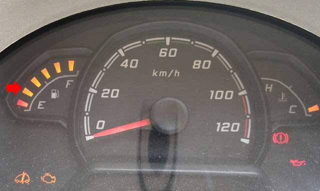 Top-5 Monsoon Tips: A Car's Fuel Gauge indicating about 1/3rd capacity