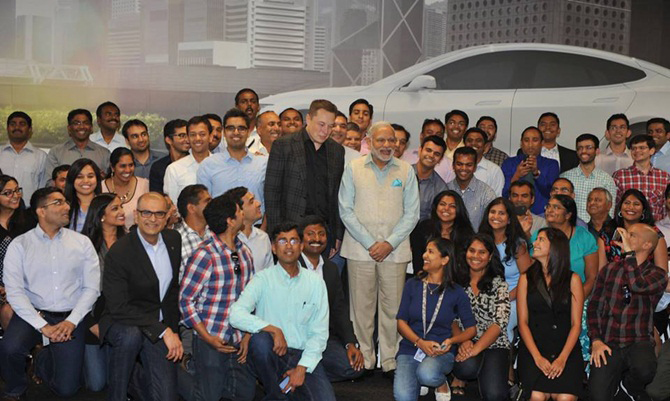 PM Modi with Tesla Motors Staff