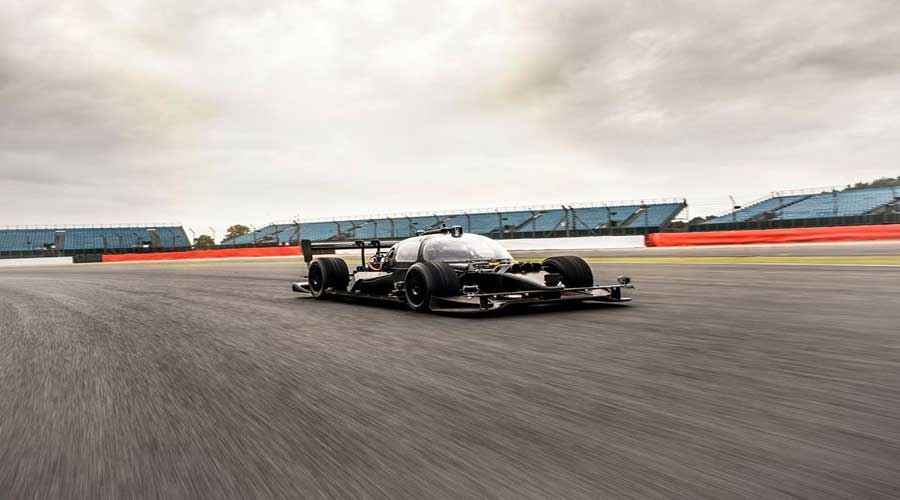 Driverless racing car on track