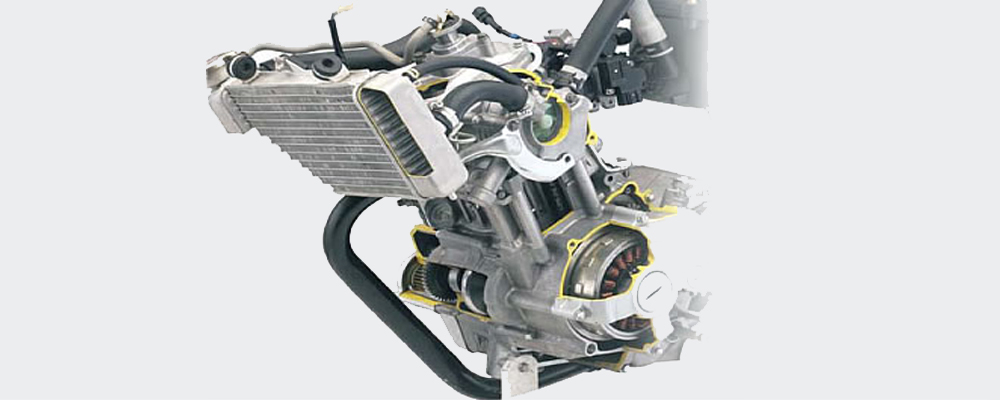 Water cooled engine (Courtesy: Yamaha)