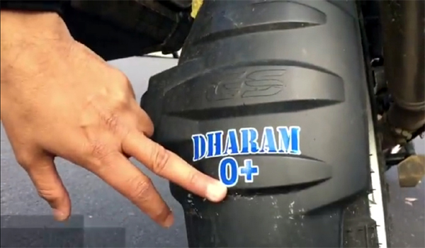DJ Bhai's bloodgroup printed on his bike