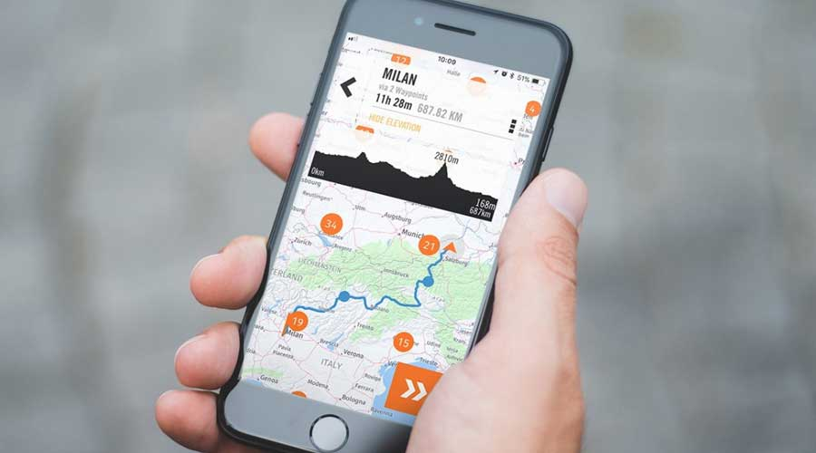 KTM my ride app interface