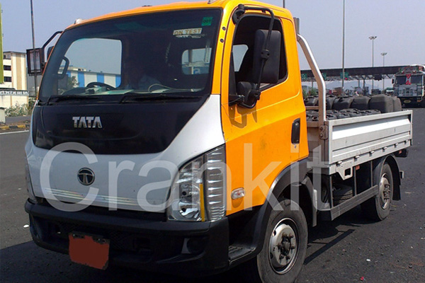 Tata prototype truck undergoing testing on road.
