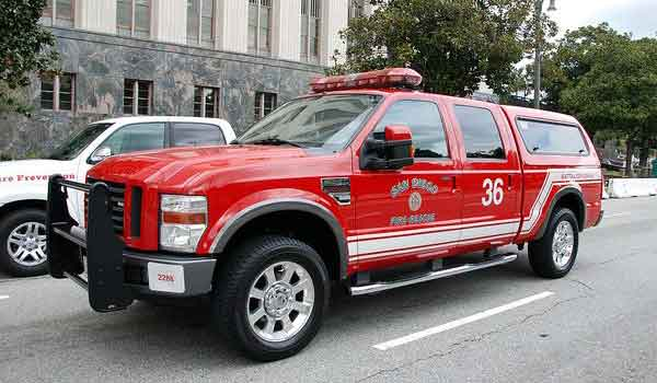Ford Pick-up Truck (Courtesy San Diego Fire Dept. / Facebook)